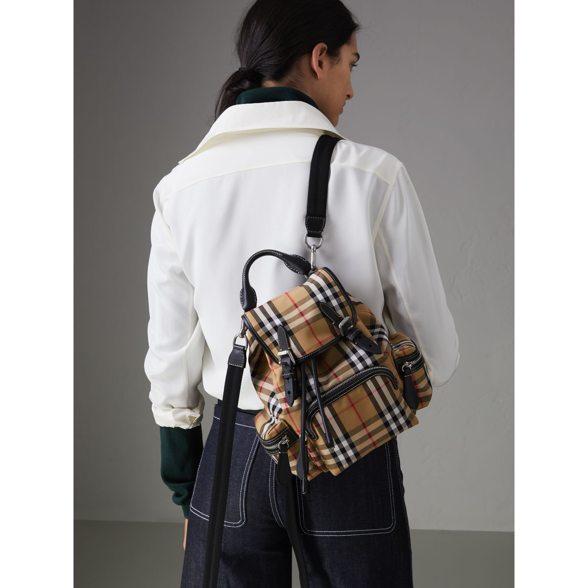 The Crossbody Rucksack in Vintage Check and Leather in Antique Yellow - Women | Burberry United Kingdom - gallery image 2