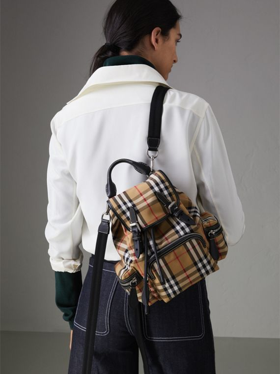 The Crossbody Rucksack in Vintage Check and Leather in Antique Yellow - Women | Burberry United Kingdom - cell image 2