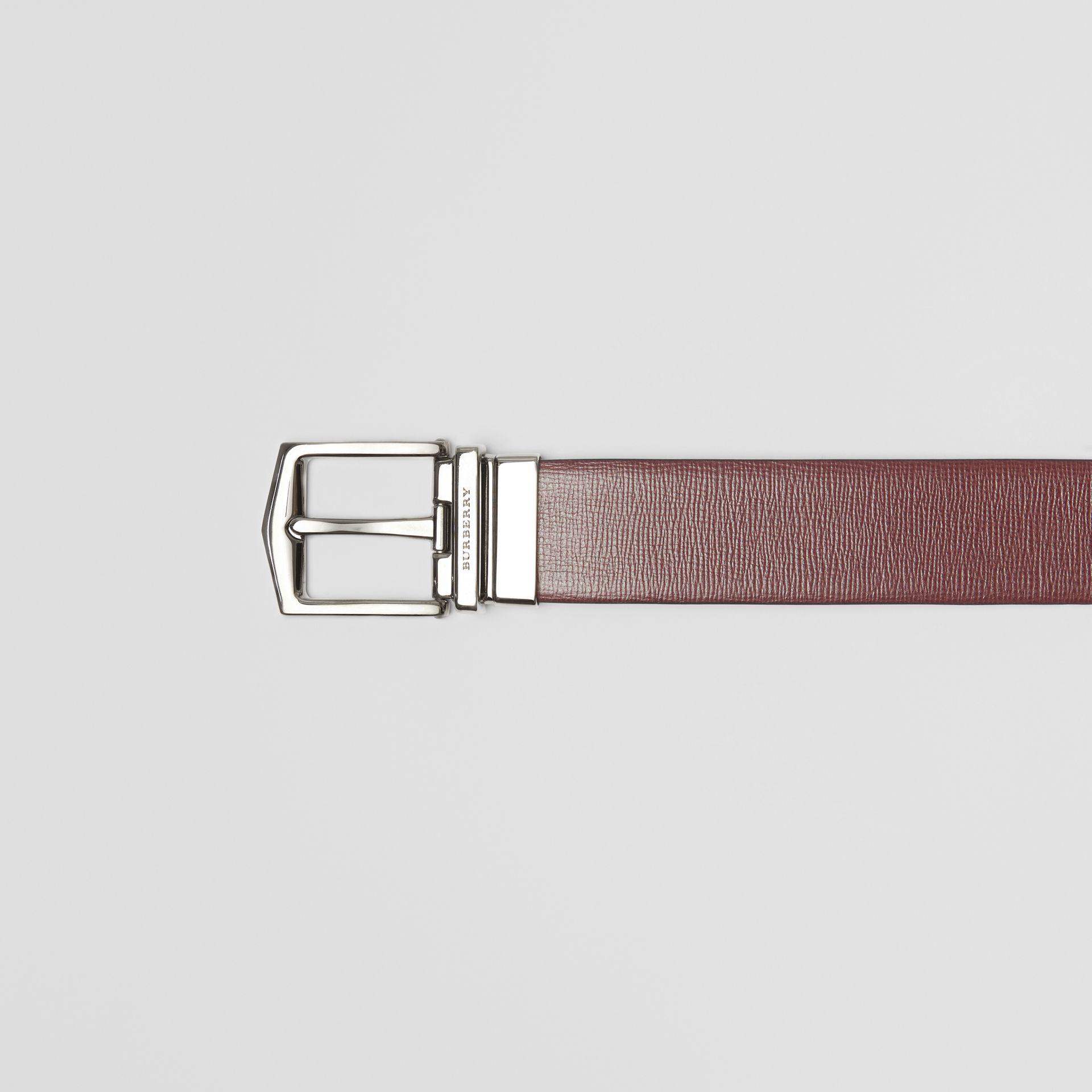 Reversible London Leather Belt in Burgundy Red/black - Men | Burberry Canada - gallery image 1