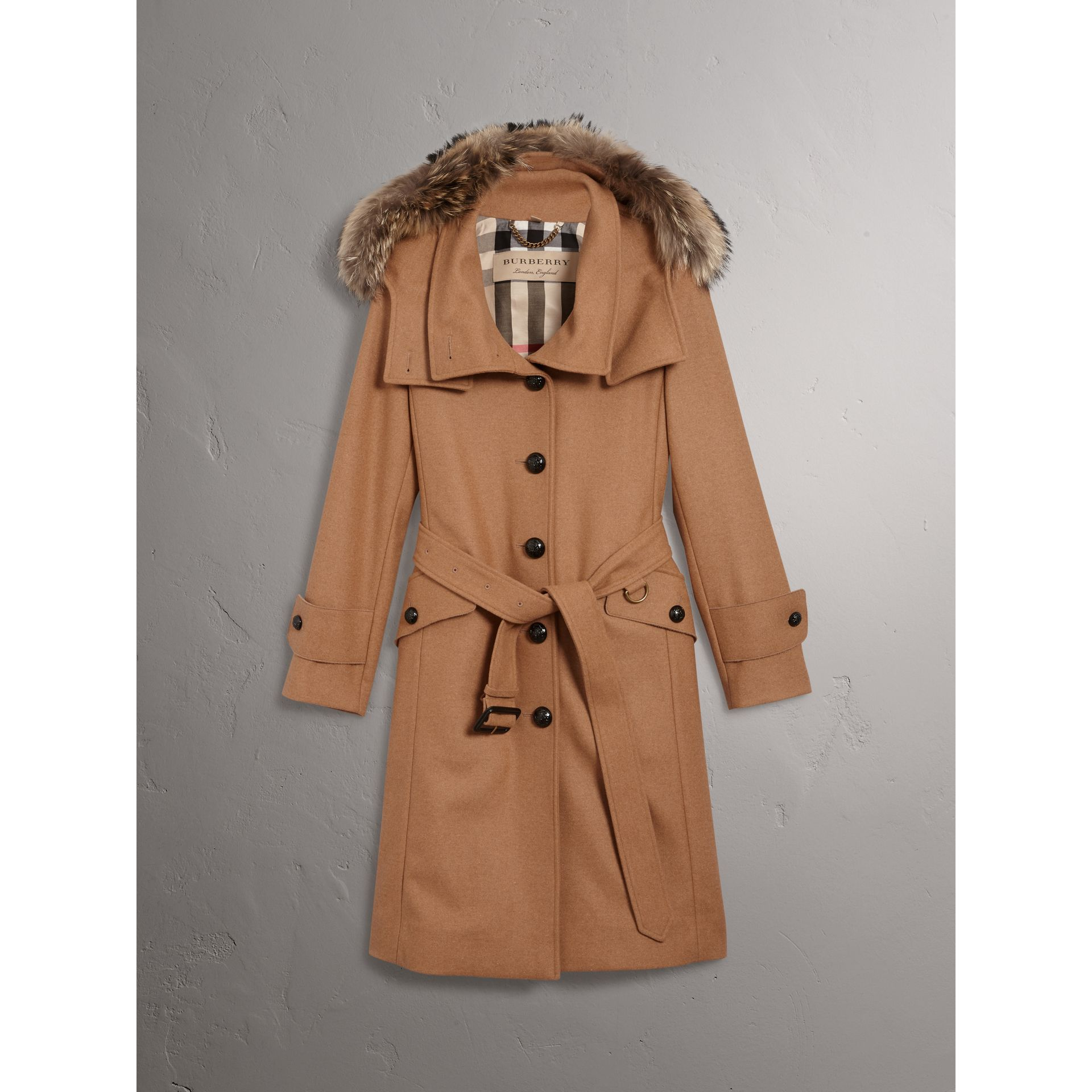 Hooded Wool Blend Coat with Detachable Fur Trim in Camel Melange - Women | Burberry - gallery image 3