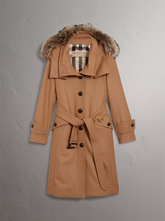 Hooded Wool Blend Coat with Detachable Fur Trim in Camel Melange - Women | Burberry - cell image 3