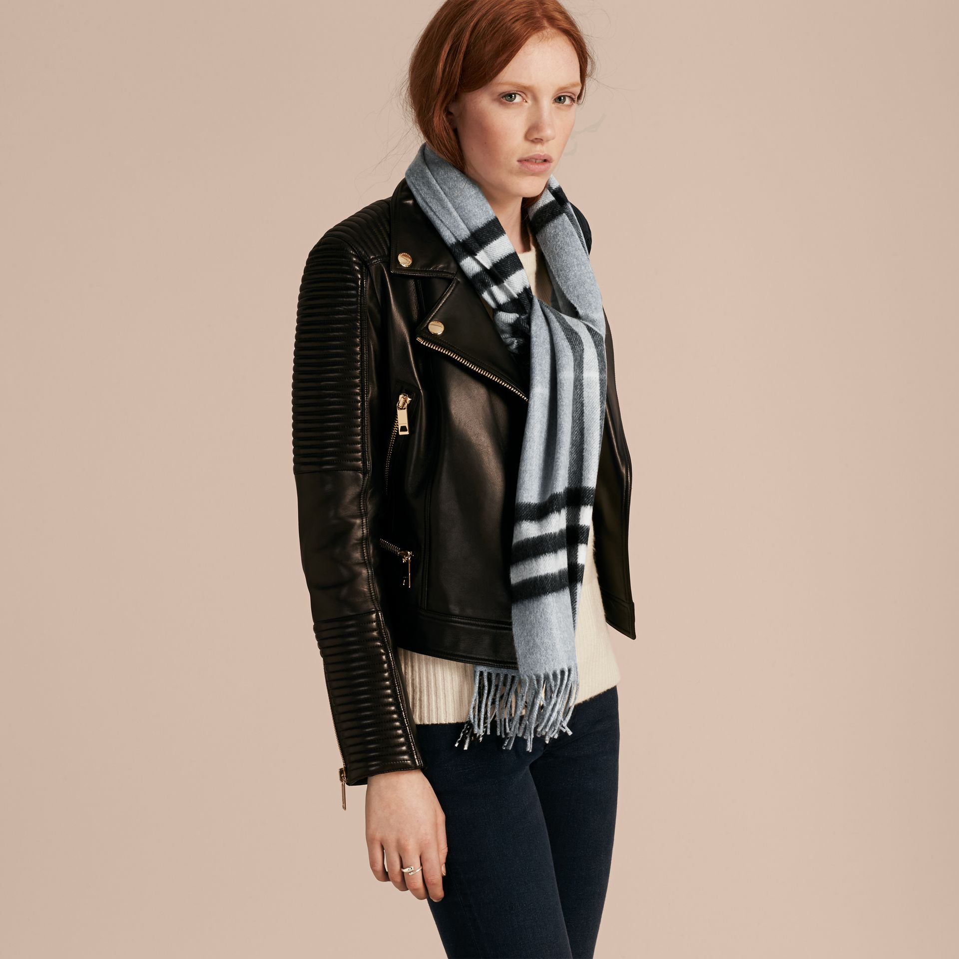The Classic Cashmere Scarf in Check Dusty Blue - gallery image 3