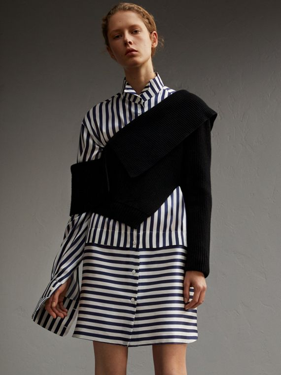 Striped Silk Cotton Shirt Dress - Women | Burberry