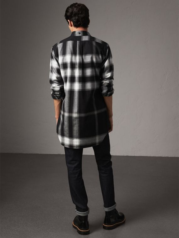 Ombré Check Cotton Flannel Shirt in Black - Men | Burberry - cell image 2