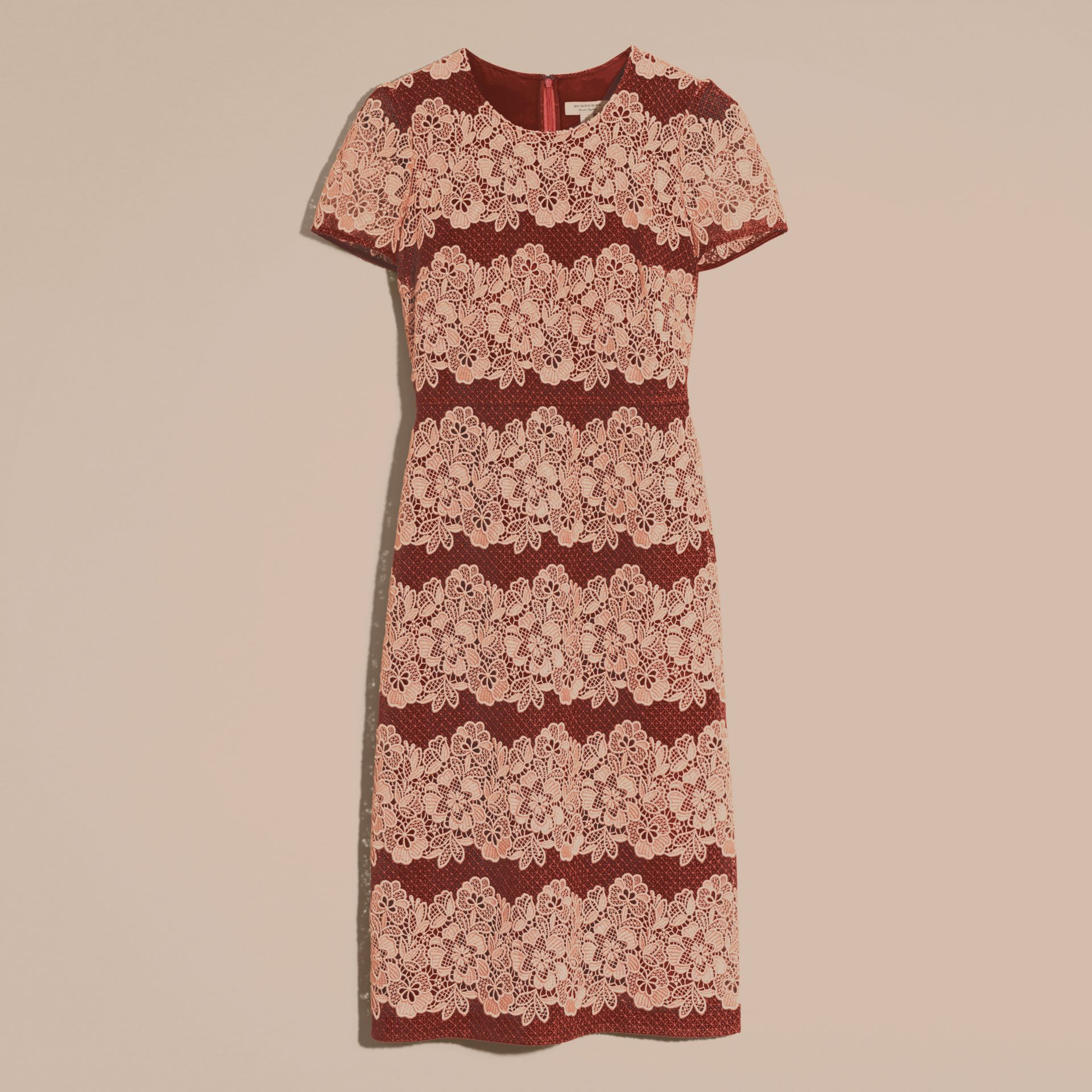 Copper pink/russet Mesh and Macramé Lace Shift Dress - gallery image 4