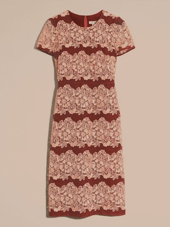Copper pink/russet Mesh and Macramé Lace Shift Dress - cell image 3