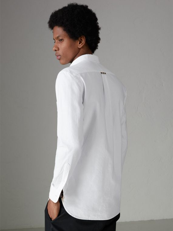 Check Detail Cotton Oxford Shirt in White - Men | Burberry United Kingdom - cell image 2