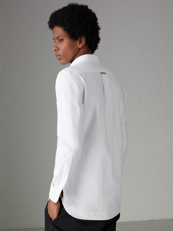 Check Detail Cotton Oxford Shirt in White - Men | Burberry Singapore - cell image 2