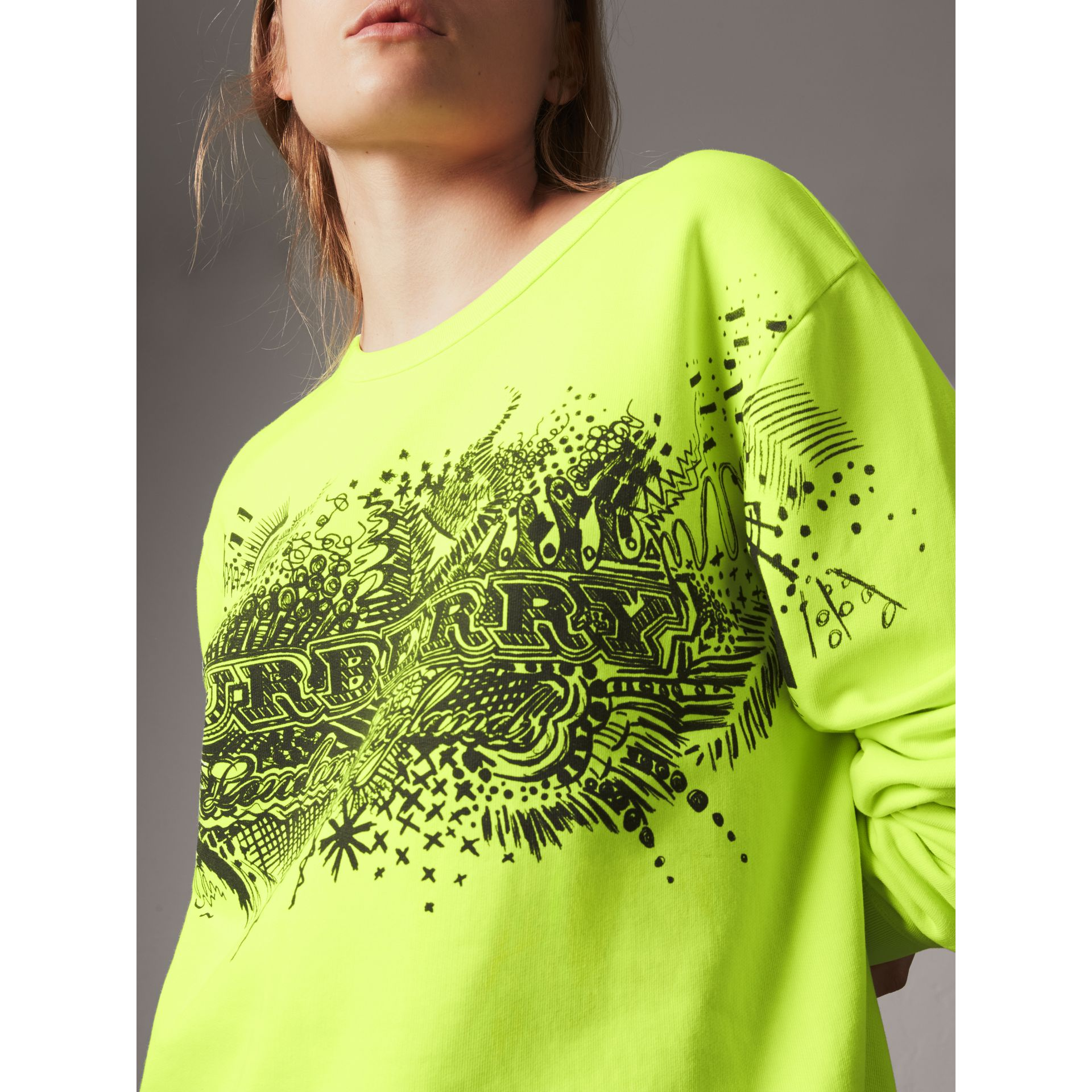 Doodle Print Cotton Sweatshirt in Bright Lemon - Women | Burberry - gallery image 1