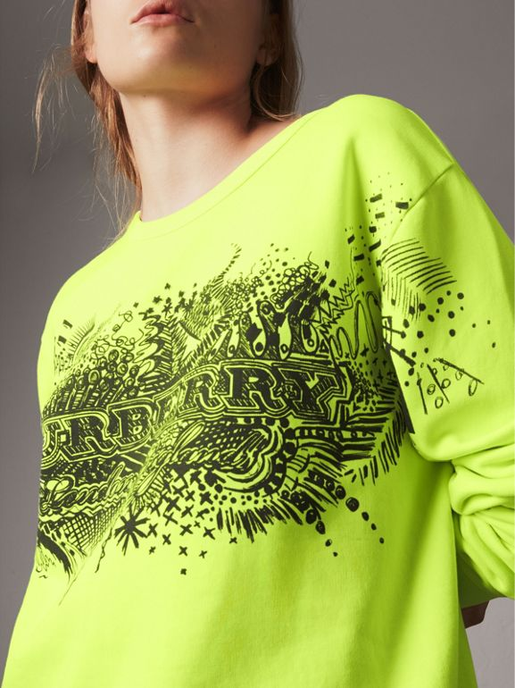 Doodle Print Cotton Sweatshirt in Bright Lemon | Burberry - cell image 1