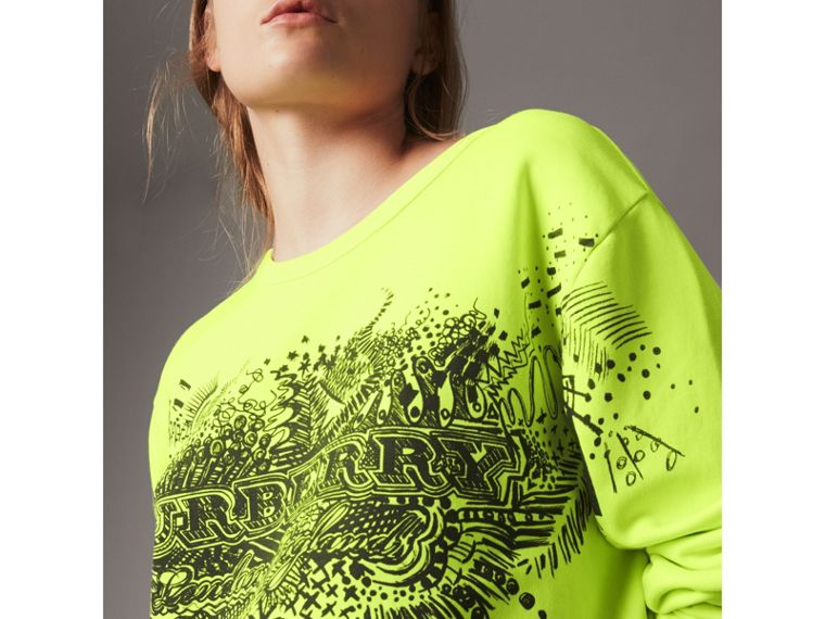 Doodle Print Cotton Sweatshirt in Bright Lemon - Women | Burberry Canada - cell image 1
