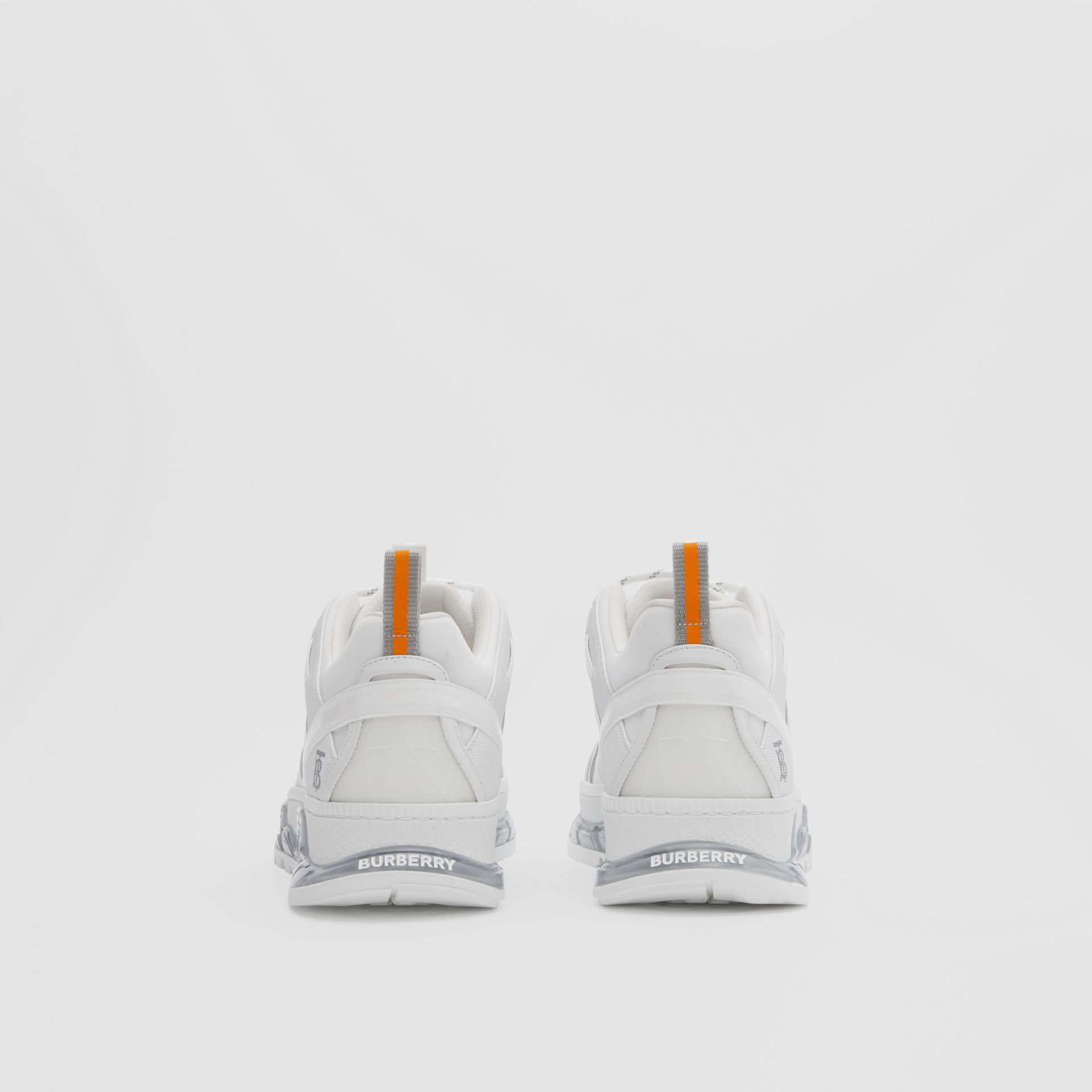 Nylon and Leather Union Sneakers in Optic White - Men | Burberry United Kingdom - gallery image 3