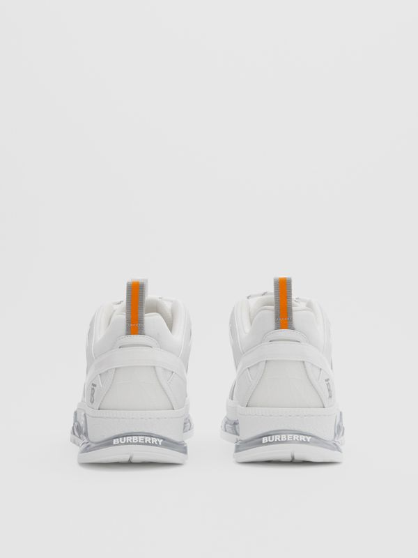 Nylon and Leather Union Sneakers in Optic White - Men | Burberry United Kingdom - cell image 3