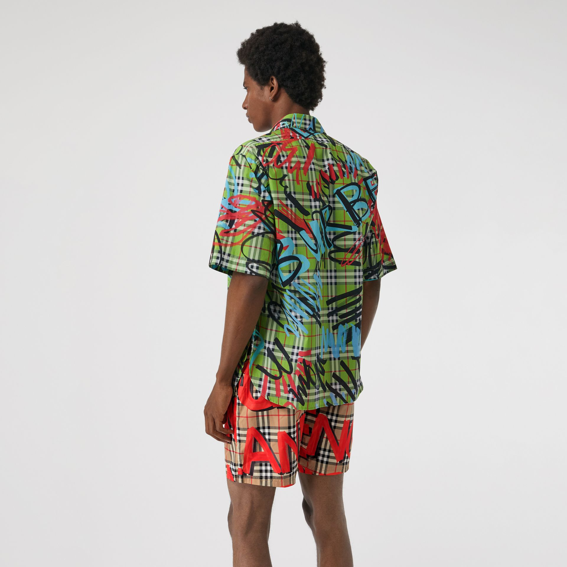 Graffiti Print Vintage Check Drawcord Swim Shorts in Bright Military Red - Men | Burberry Canada - gallery image 2
