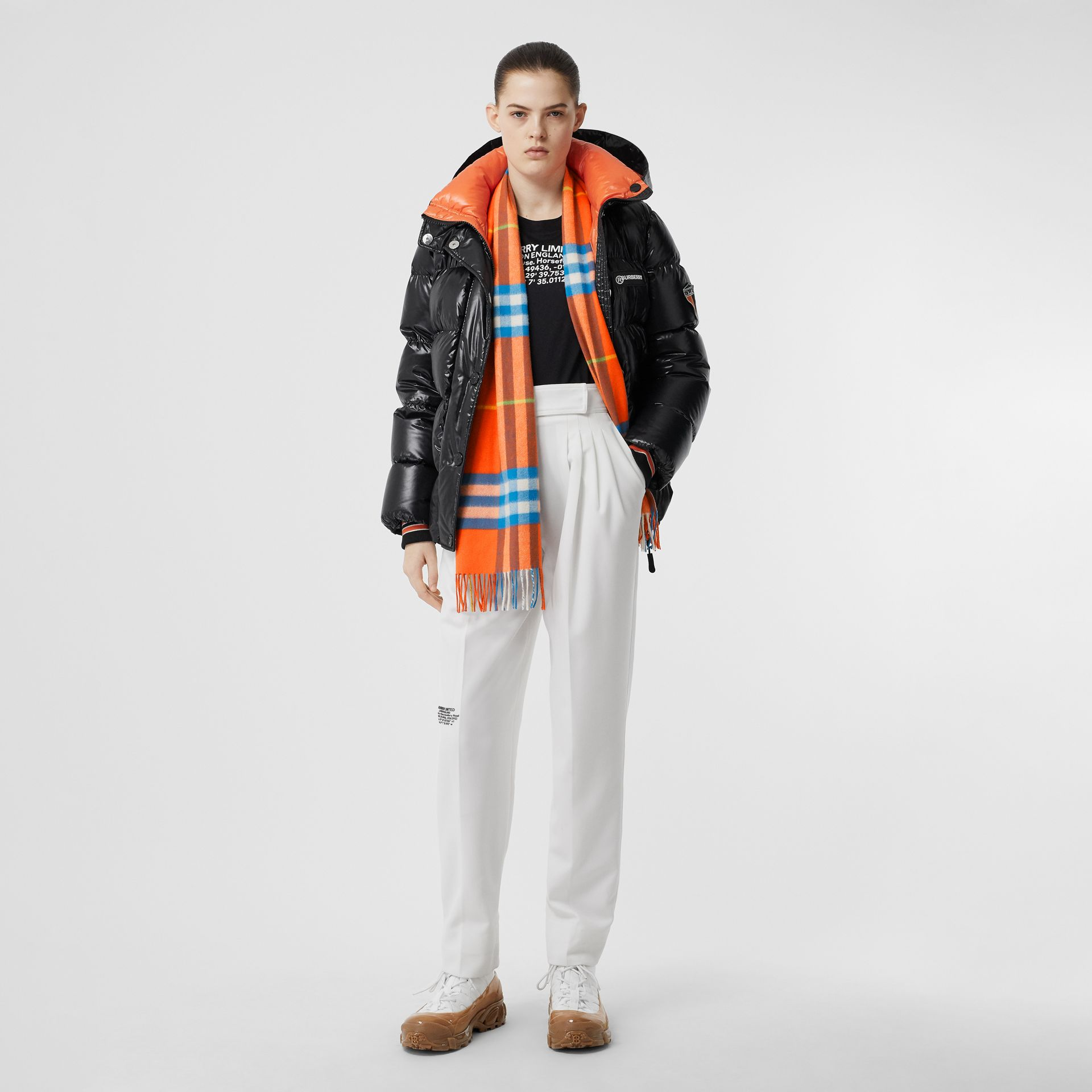 The Classic Check Cashmere Scarf in Bright Vermillion | Burberry United States - gallery image 5
