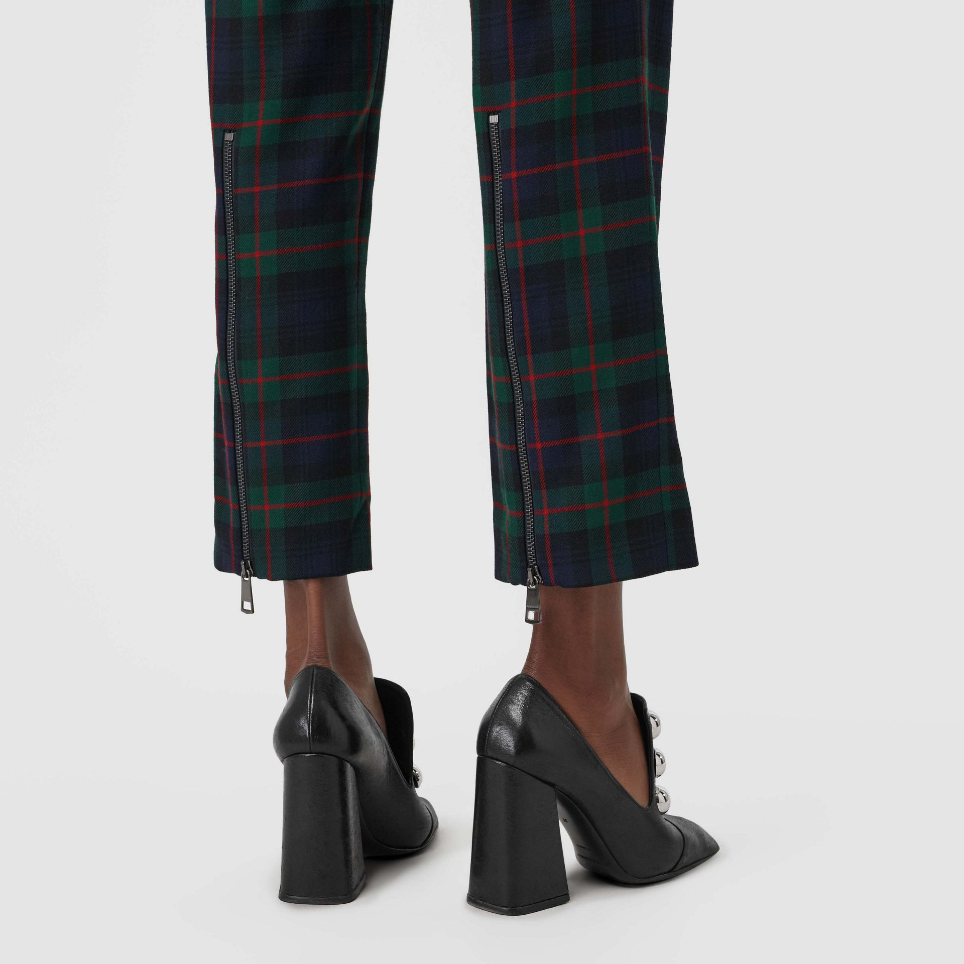 Zip Detail Check Wool Blend Trousers in Navy - Women | Burberry - gallery image 1