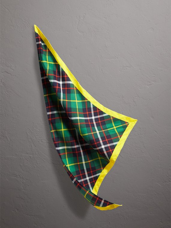 The Burberry Bandana in Check Silk in Racing Green