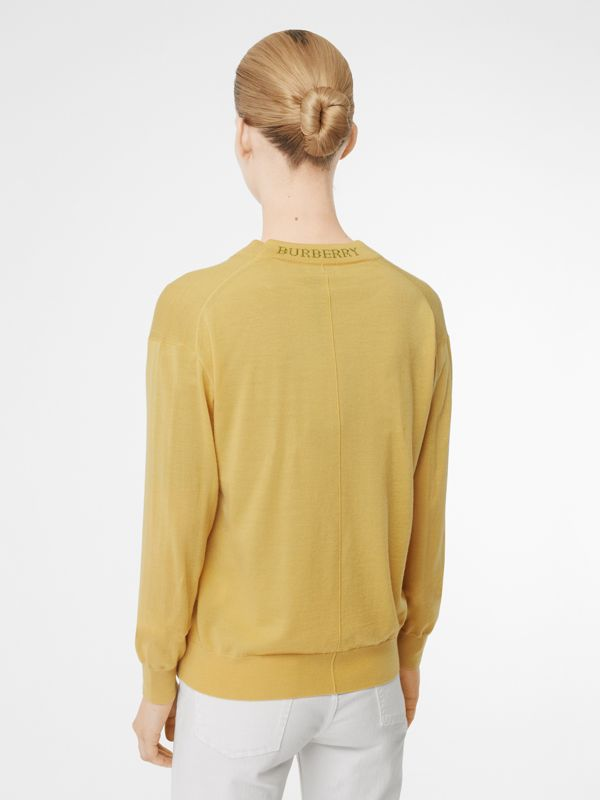 Logo Detail Merino Wool Cardigan in Primrose Yellow - Women | Burberry - cell image 2