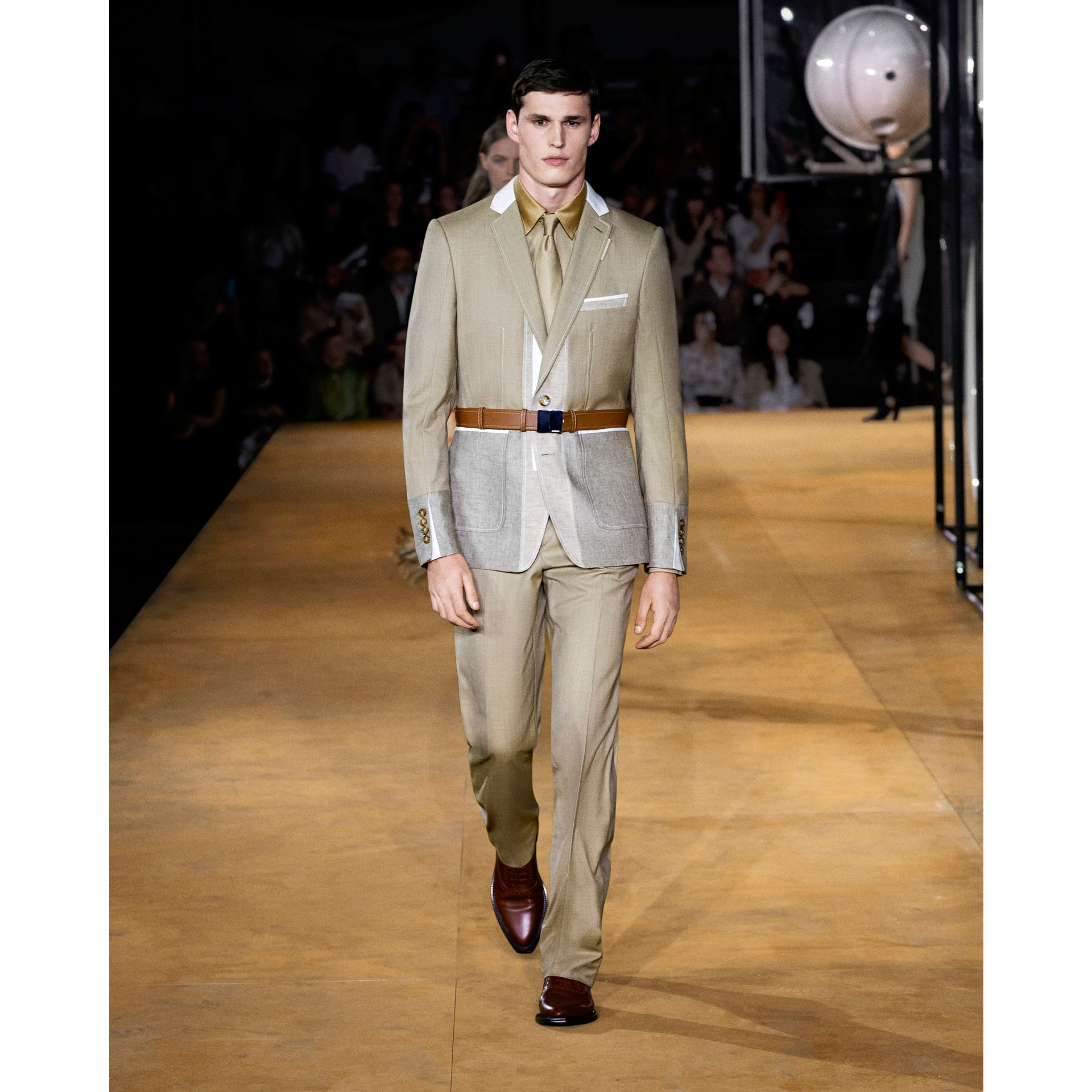 English Fit Wool Cashmere and Linen Tailored Trousers in Pecan Melange | Burberry - gallery image 5