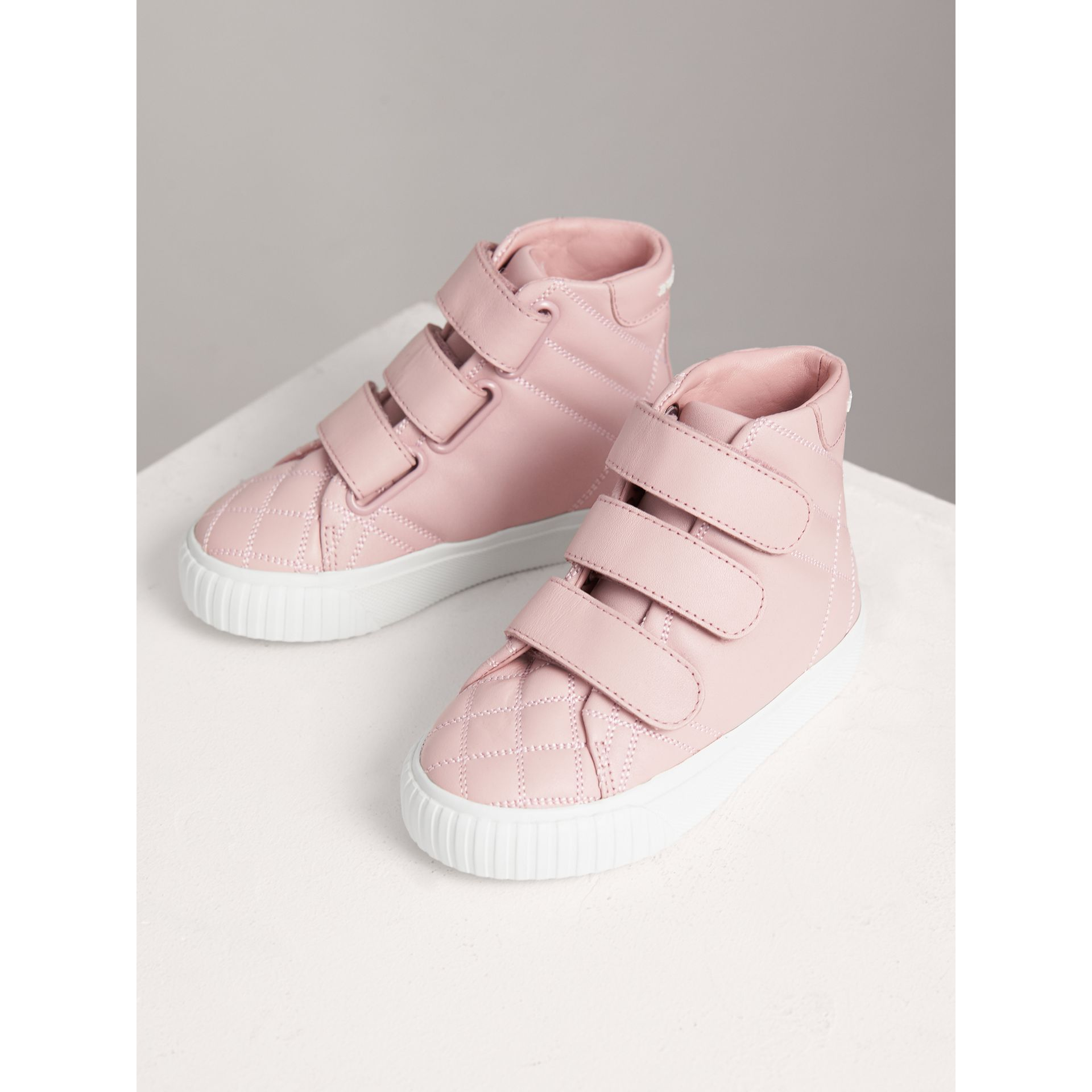 Quilted Leather High-top Trainers in Light Pink Melange | Burberry - gallery image 4