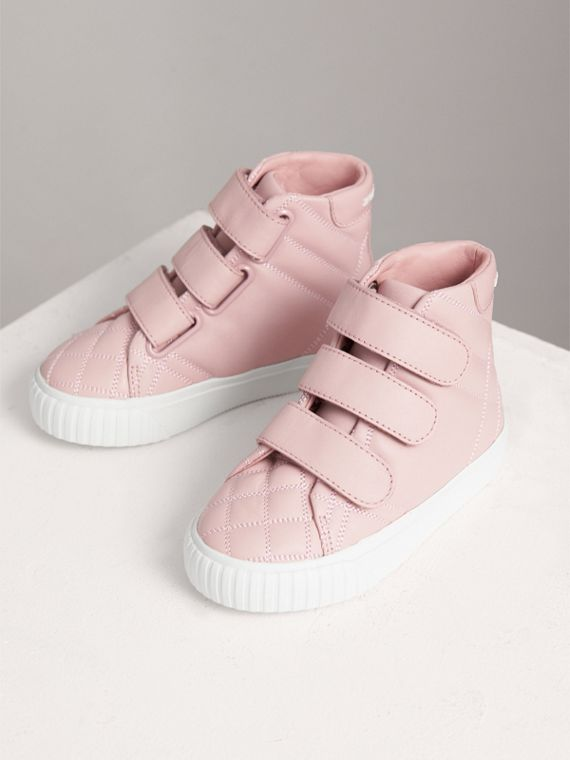Check-quilted Leather High-top Sneakers in Light Pink Melange | Burberry - cell image 3