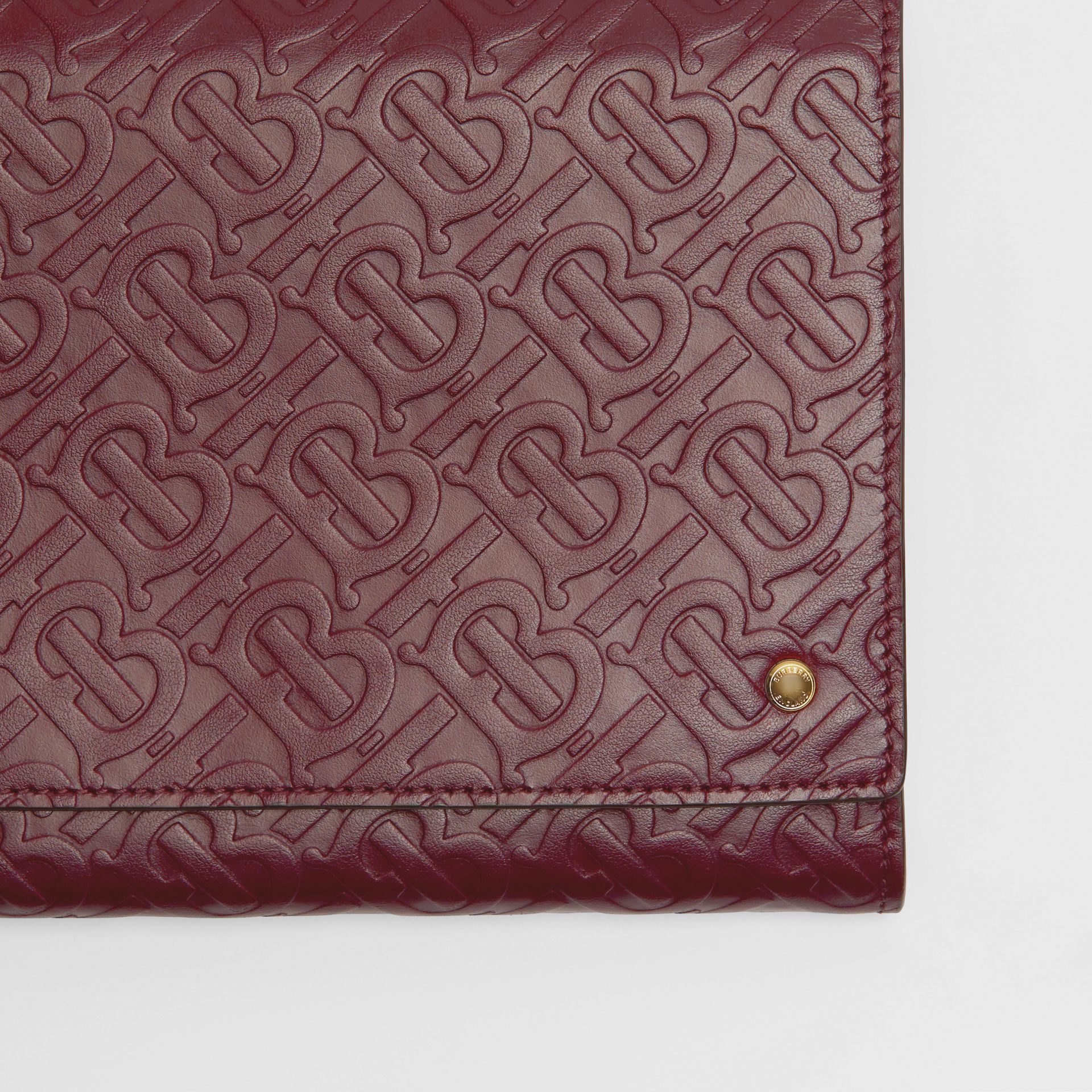 Small Monogram Leather Bag with Detachable Strap in Oxblood - Women | Burberry - gallery image 1
