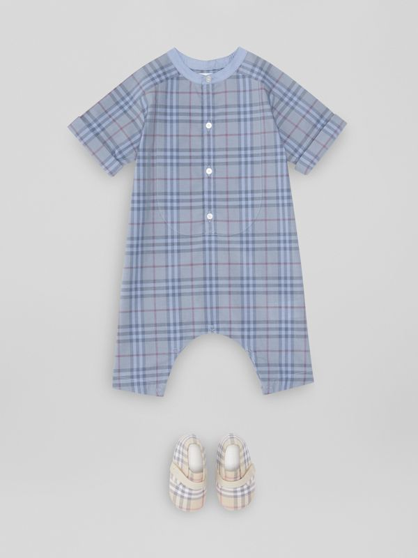 Bib Detail Check Cotton Jumpsuit in Dusty Blue - Children | Burberry - cell image 2