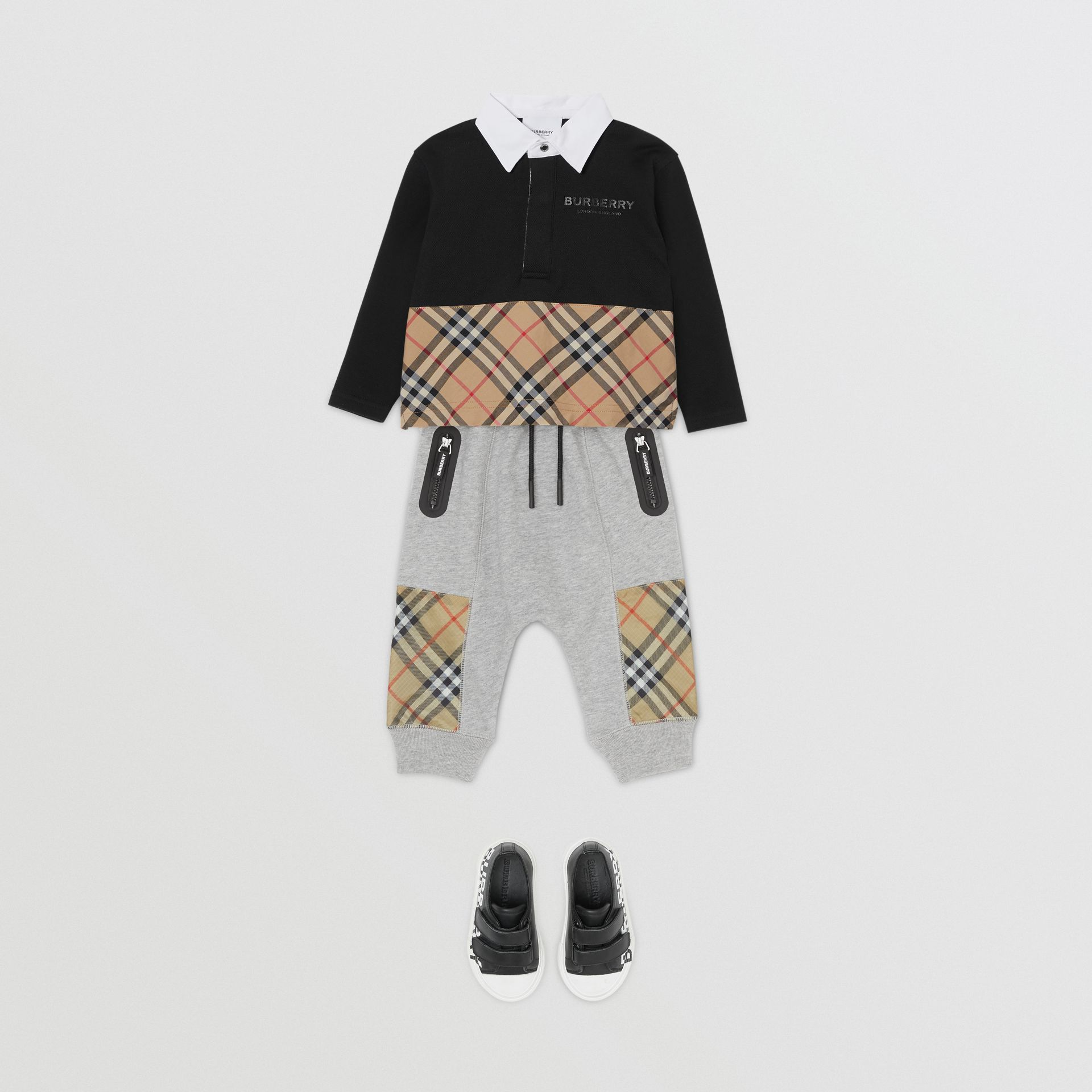 Vintage Check Panel Cotton Trackpants in Grey Melange - Children | Burberry - gallery image 2