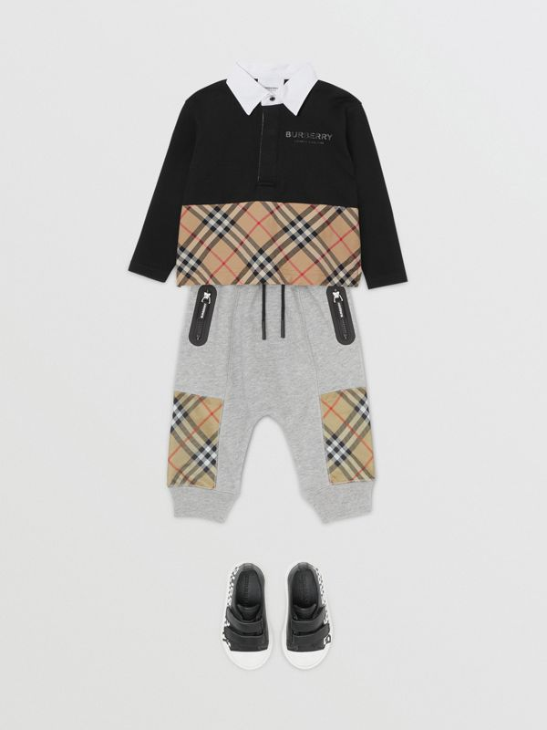 Vintage Check Panel Cotton Trackpants in Grey Melange - Children | Burberry - cell image 2