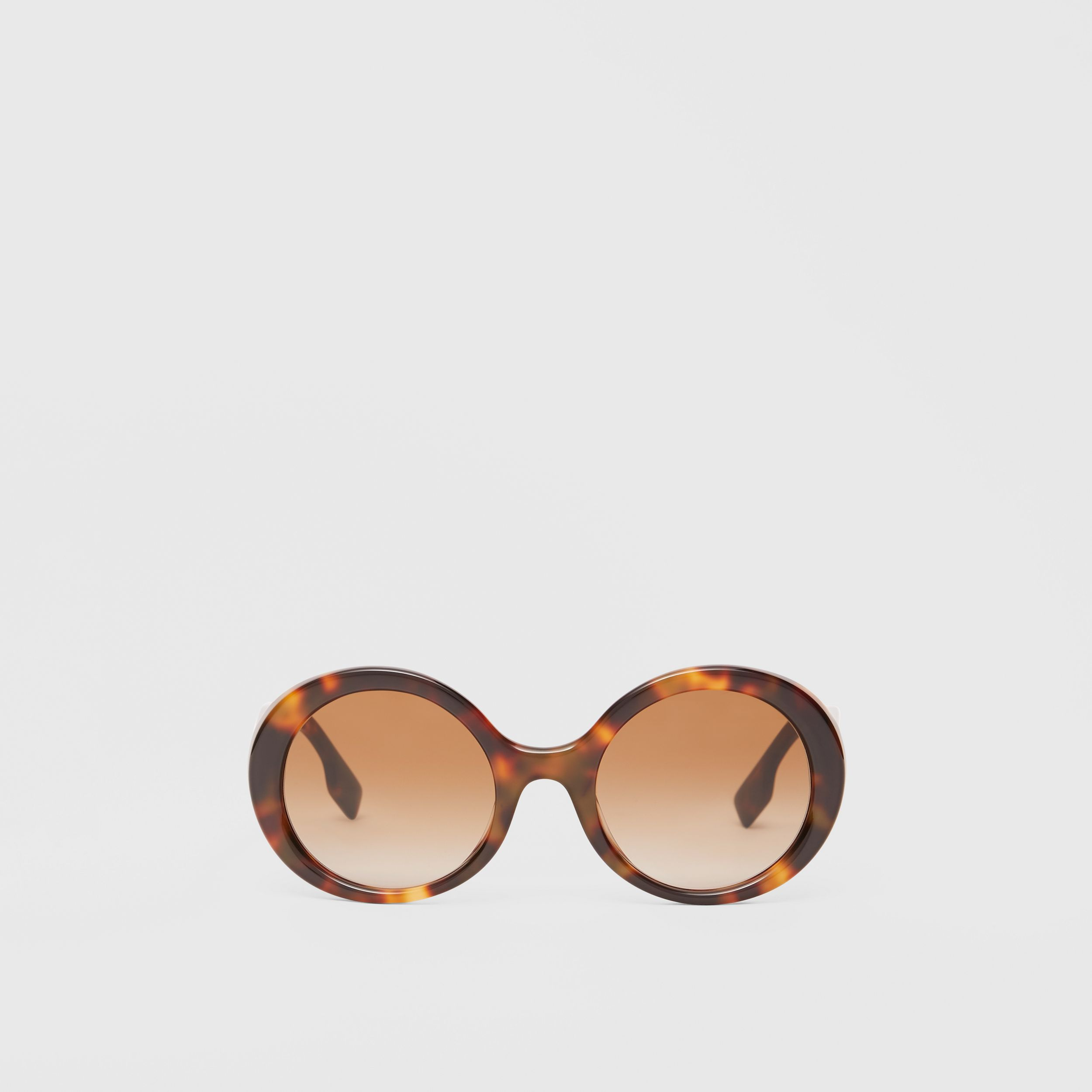 Oversized Round Frame Sunglasses in Dark Tortoise Amber - Women | Burberry - 1