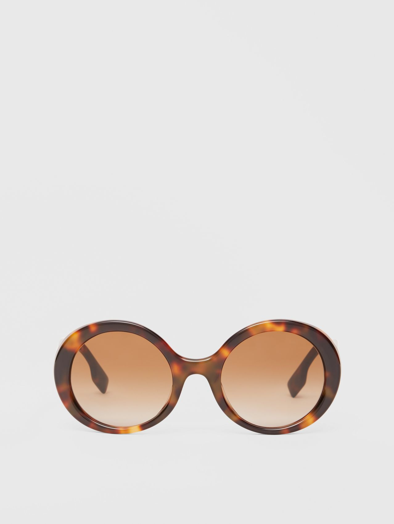 Oversized Round Frame Sunglasses in Dark Tortoise Amber