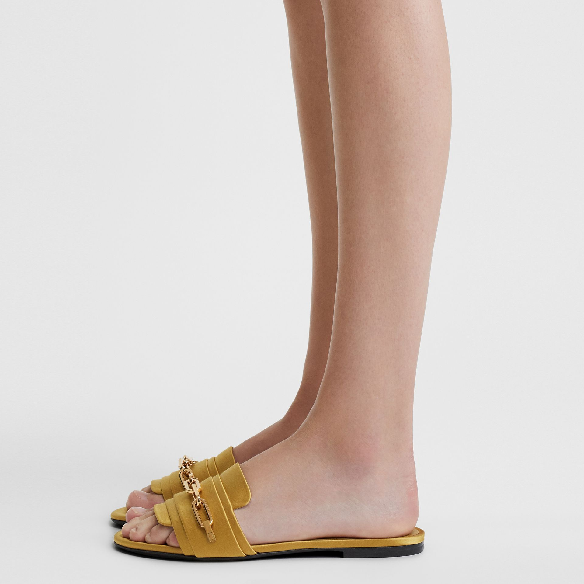 Link Detail Satin and Leather Slides in Antique Yellow - Women | Burberry - gallery image 2