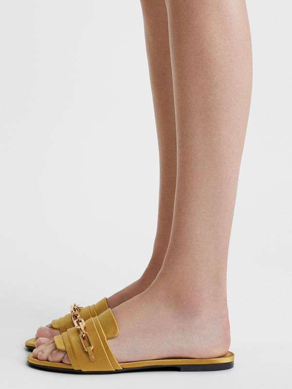 Link Detail Satin and Leather Slides in Antique Yellow - Women | Burberry United Kingdom - cell image 2