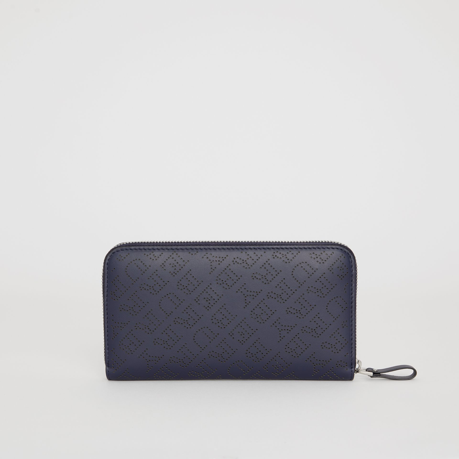 Perforated Leather Ziparound Wallet in Navy - Women | Burberry - gallery image 5