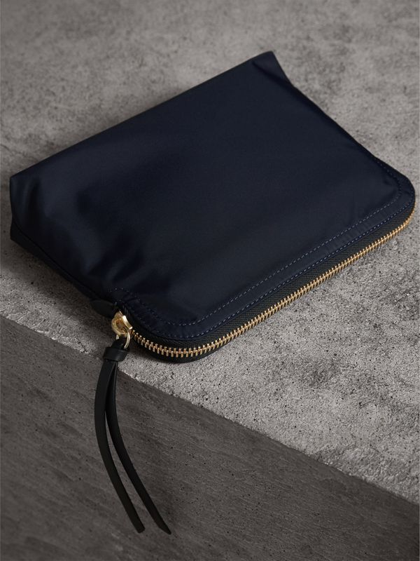 Large Zip-top Technical Nylon Pouch in Ink Blue - Women | Burberry - cell image 3