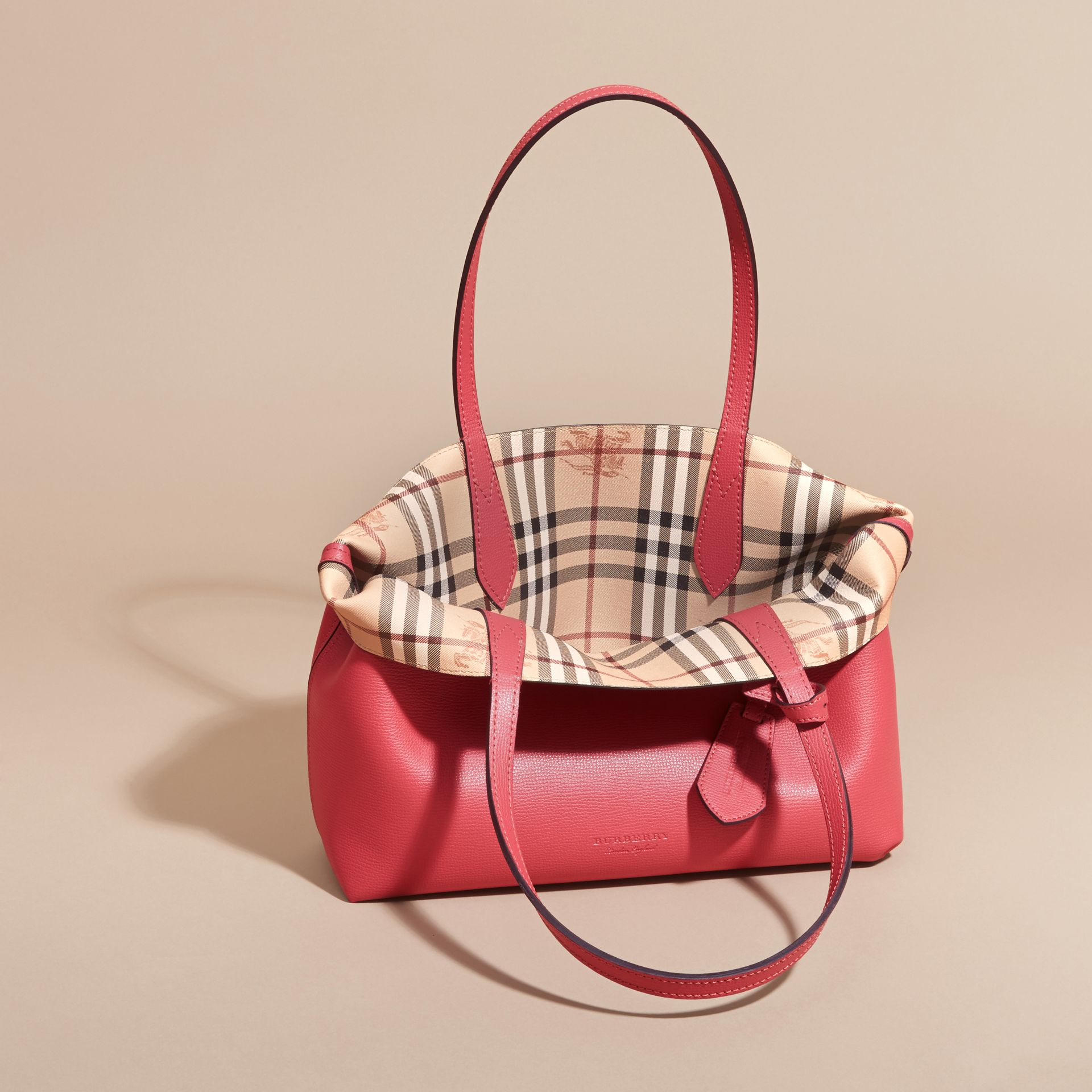 The Small Reversible Tote in Haymarket Check and Leather Coral Red - gallery image 6