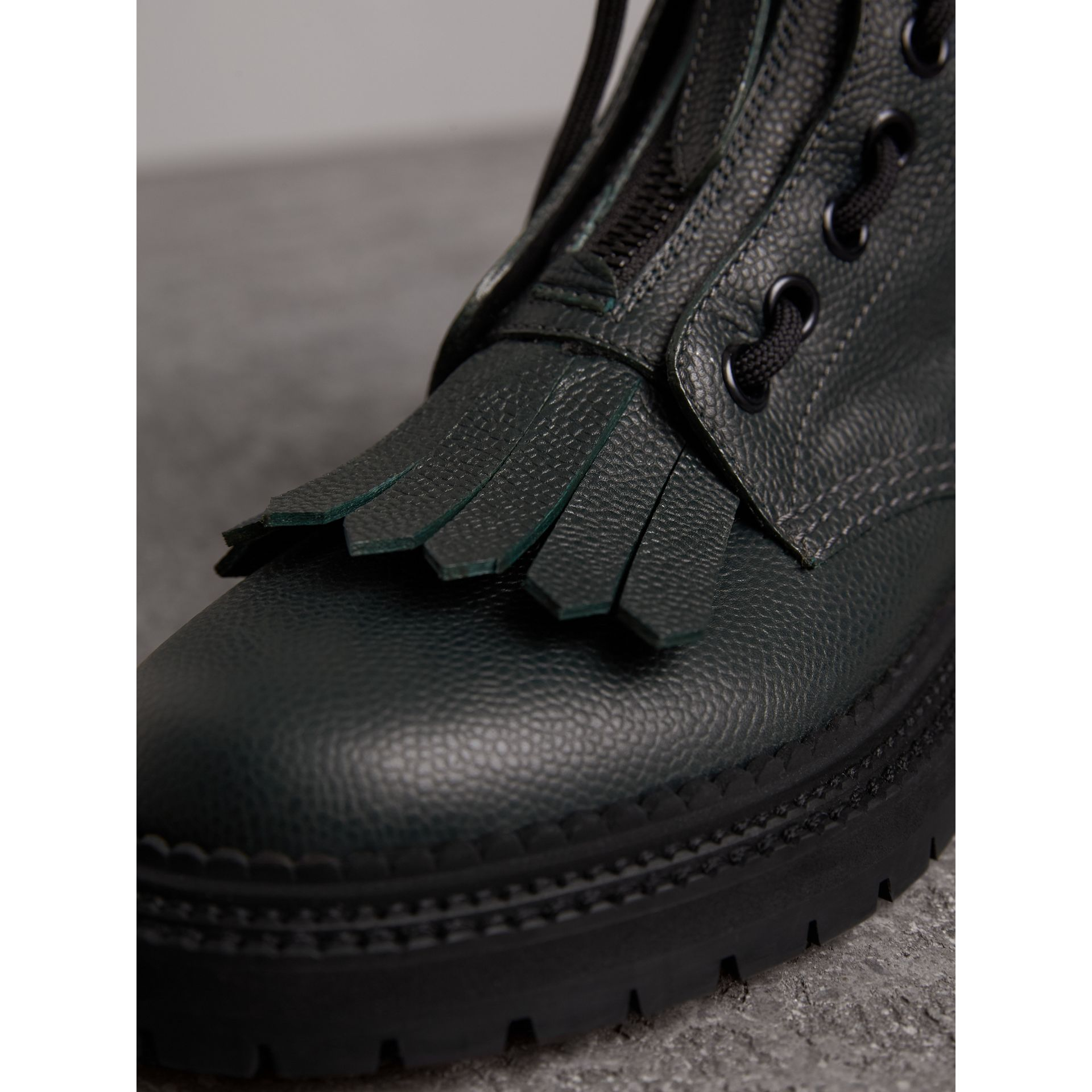 Fringe Detail Grainy Leather Military Boots in Deep Viridian Green - Women | Burberry Australia - gallery image 2