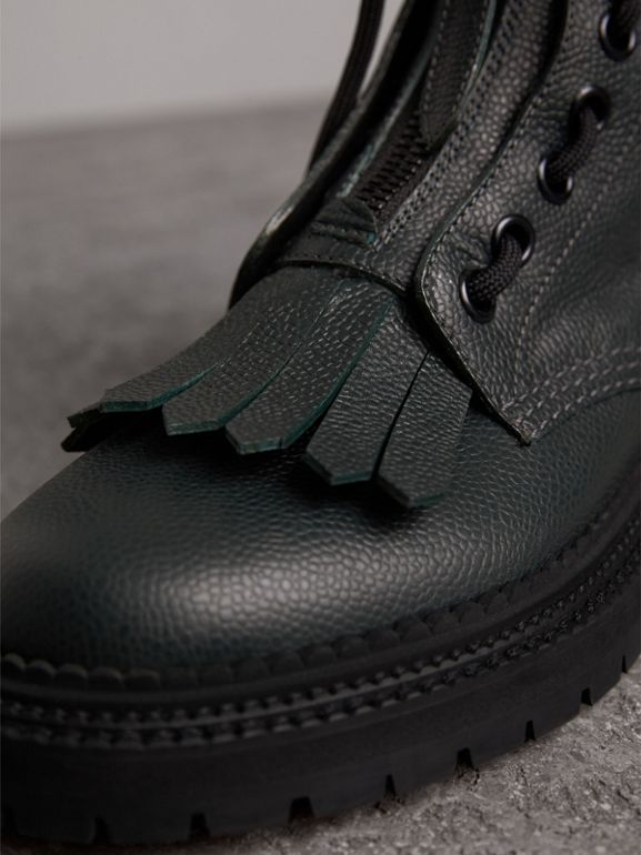 Fringe Detail Grainy Leather Military Boots in Deep Viridian Green - Women | Burberry - cell image 1