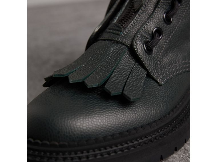 Fringe Detail Grainy Leather Military Boots in Deep Viridian Green - Women | Burberry Australia - cell image 1