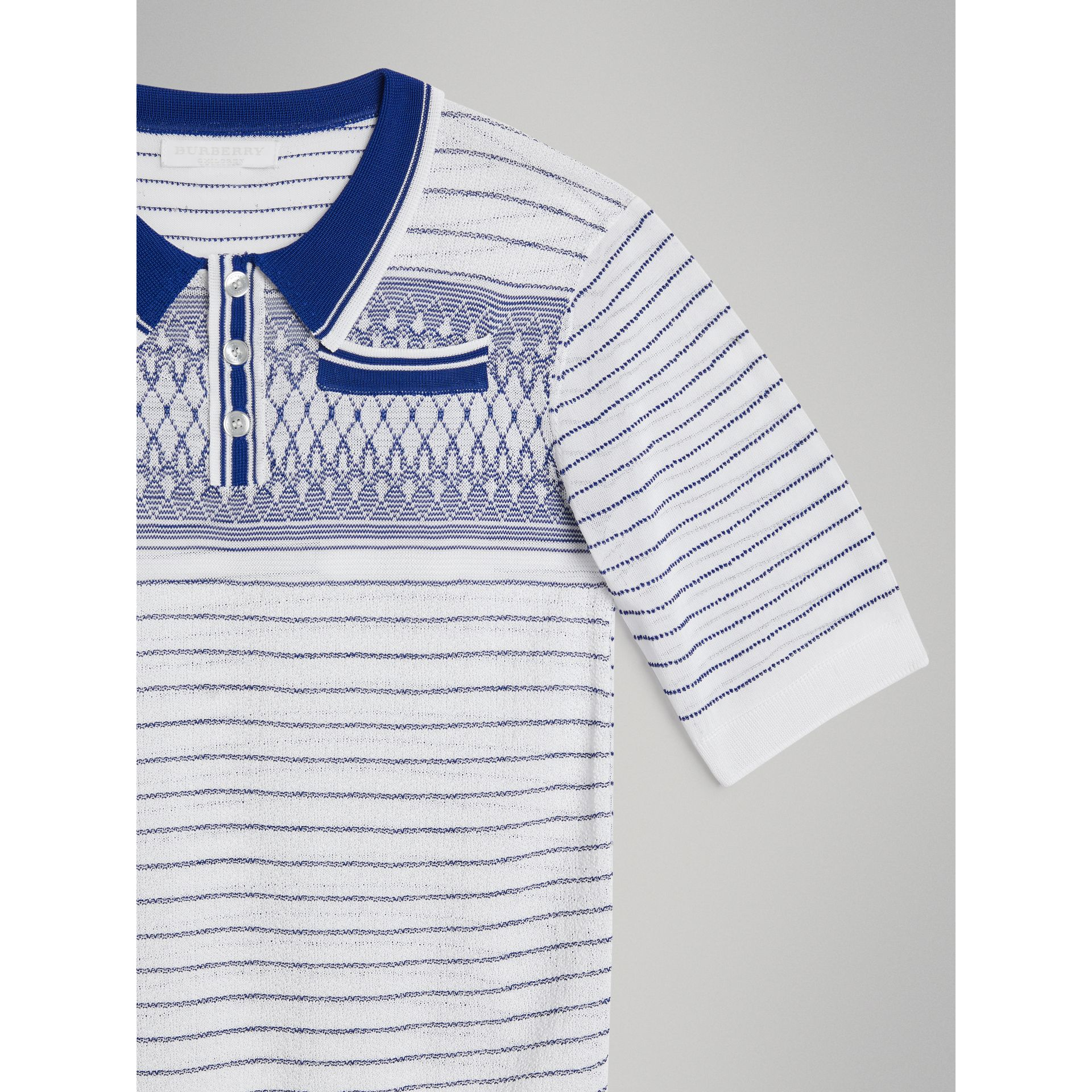 Stripe and Diamond Stitch Knitted Polo Shirt in White | Burberry - gallery image 4