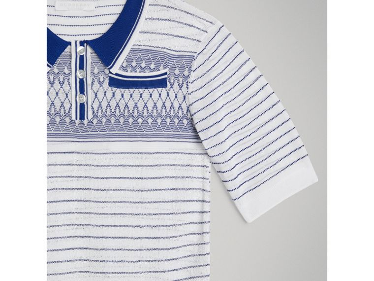 Stripe and Diamond Stitch Knitted Polo Shirt in White - Boy | Burberry - cell image 4