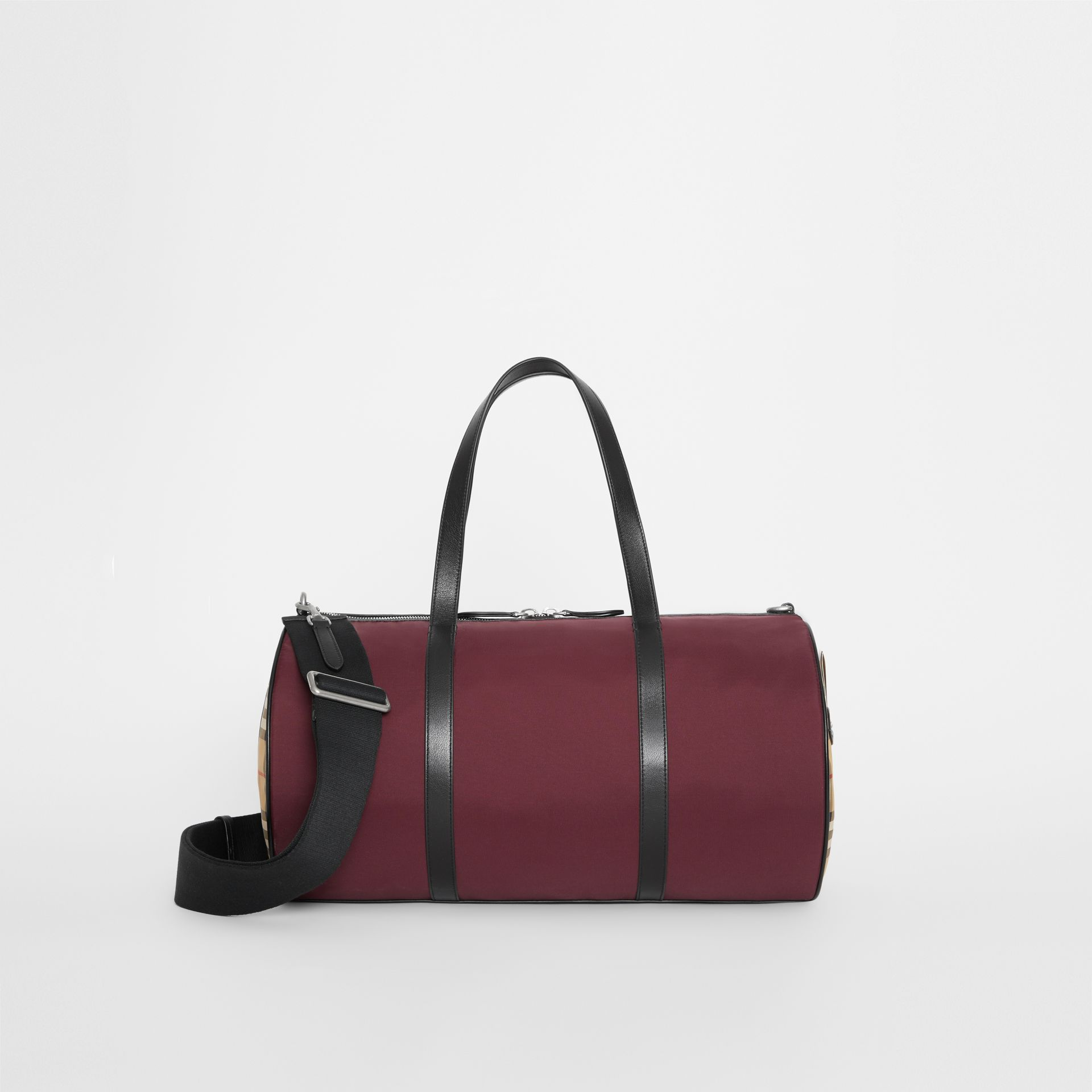 Medium Nylon and Vintage Check Barrel Bag in Oxblood - Men | Burberry - gallery image 0