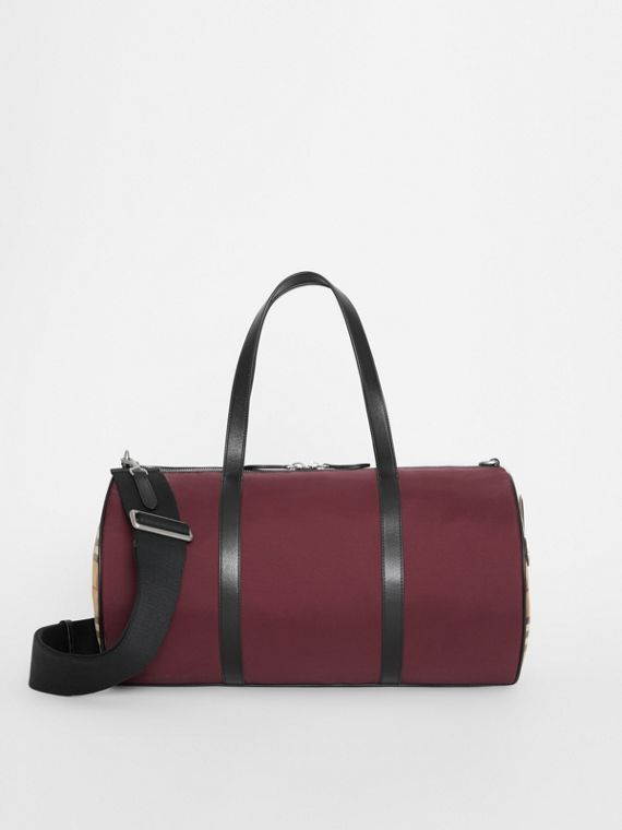 Medium Nylon and Vintage Check Barrel Bag in Oxblood