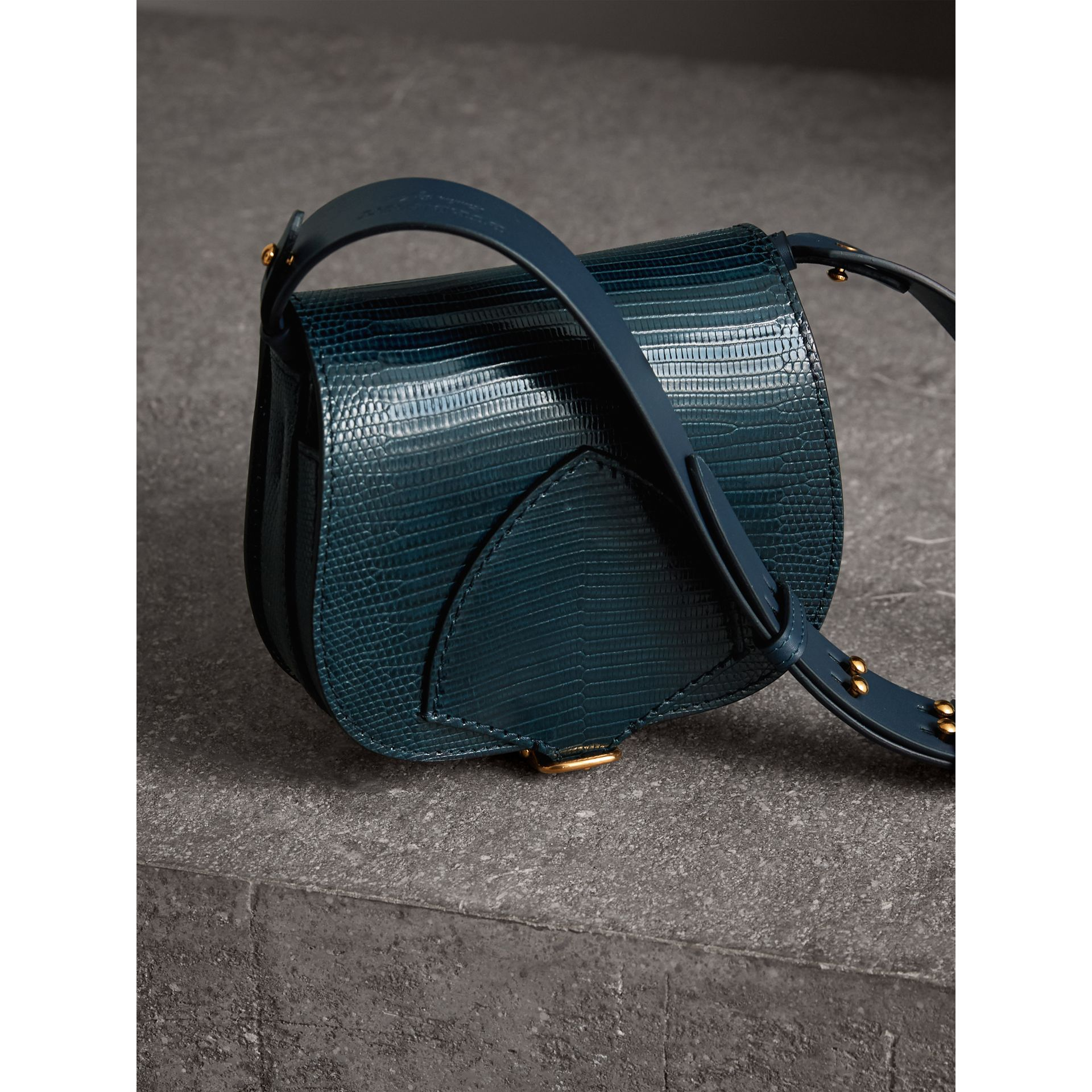 The Satchel in Lizard in Navy - Women | Burberry - gallery image 7