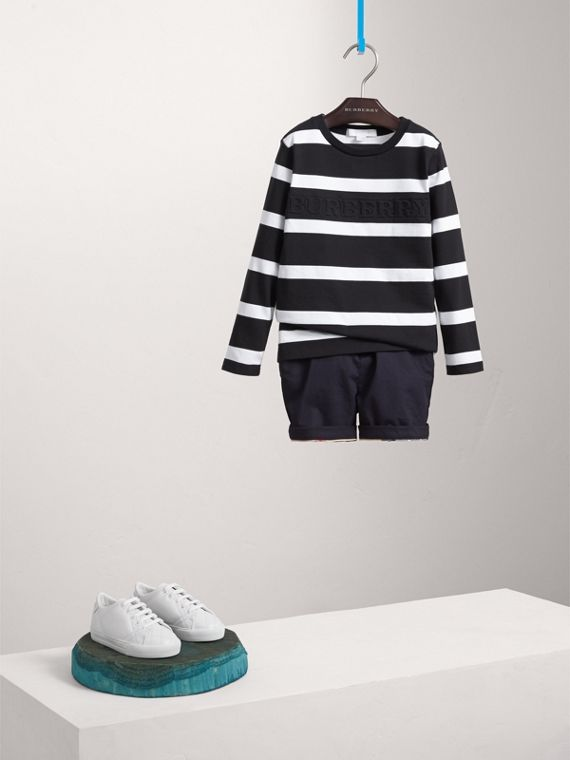 Long-sleeve Striped Cotton T-shirt in Black/white - Boy | Burberry Hong Kong