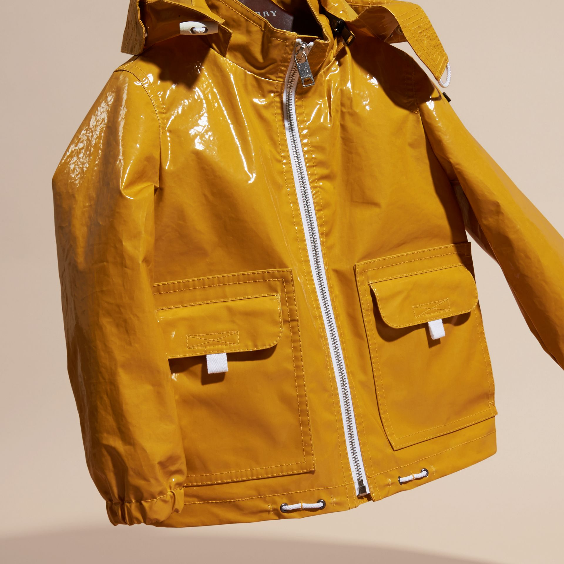 Glossy Showerproof Jacket with Detachable Hood - gallery image 3