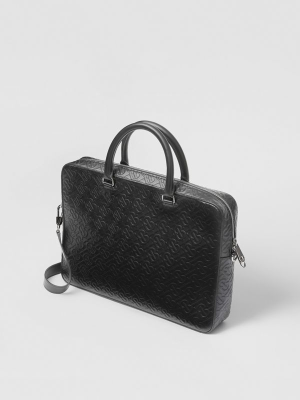 Monogram Leather Briefcase in Black - Men | Burberry - cell image 3