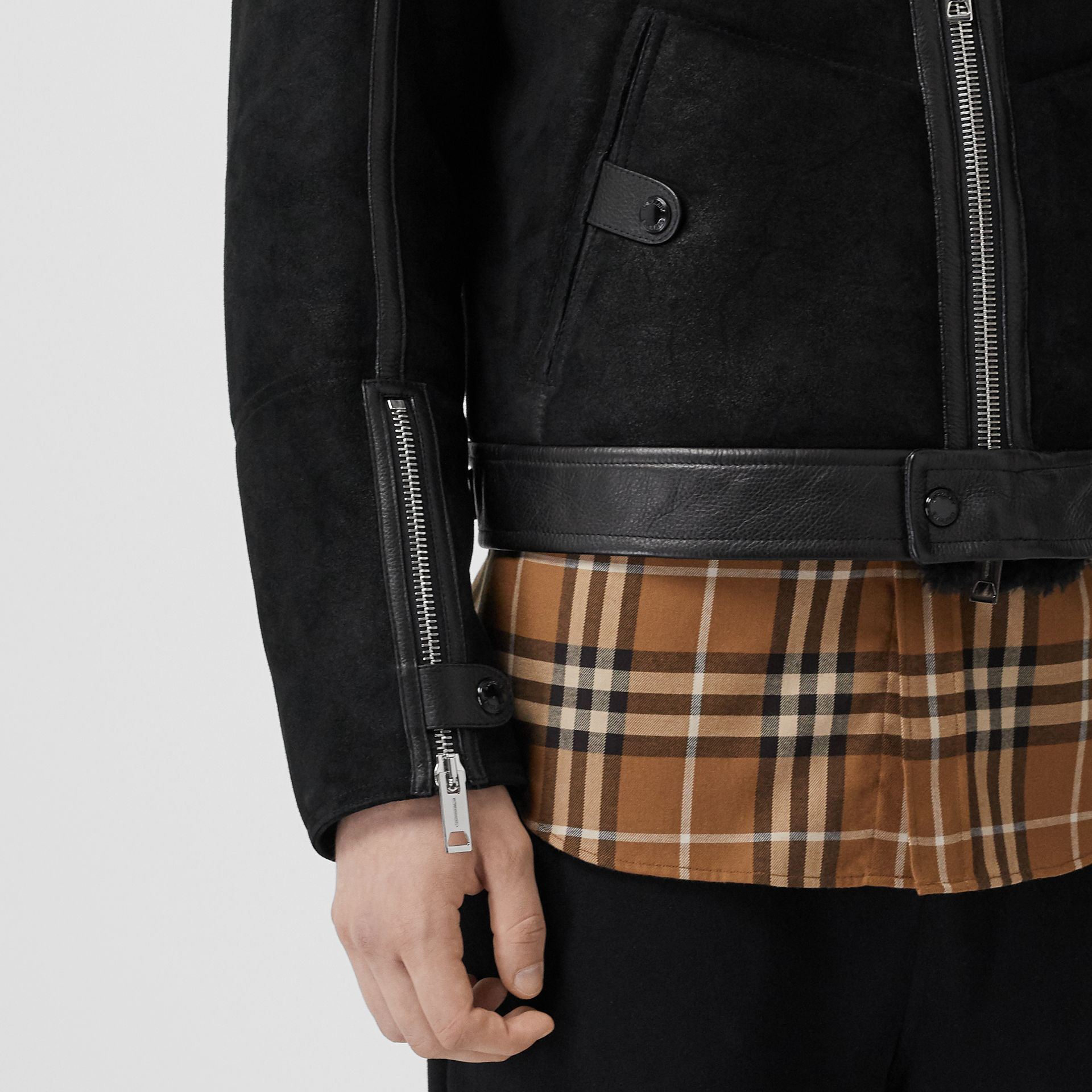 Shearling and Leather Jacket in Black - Men | Burberry - gallery image 5