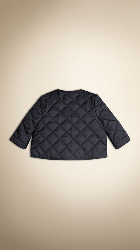 Navy Collarless Diamond Quilted Jacket Navy - Image 5