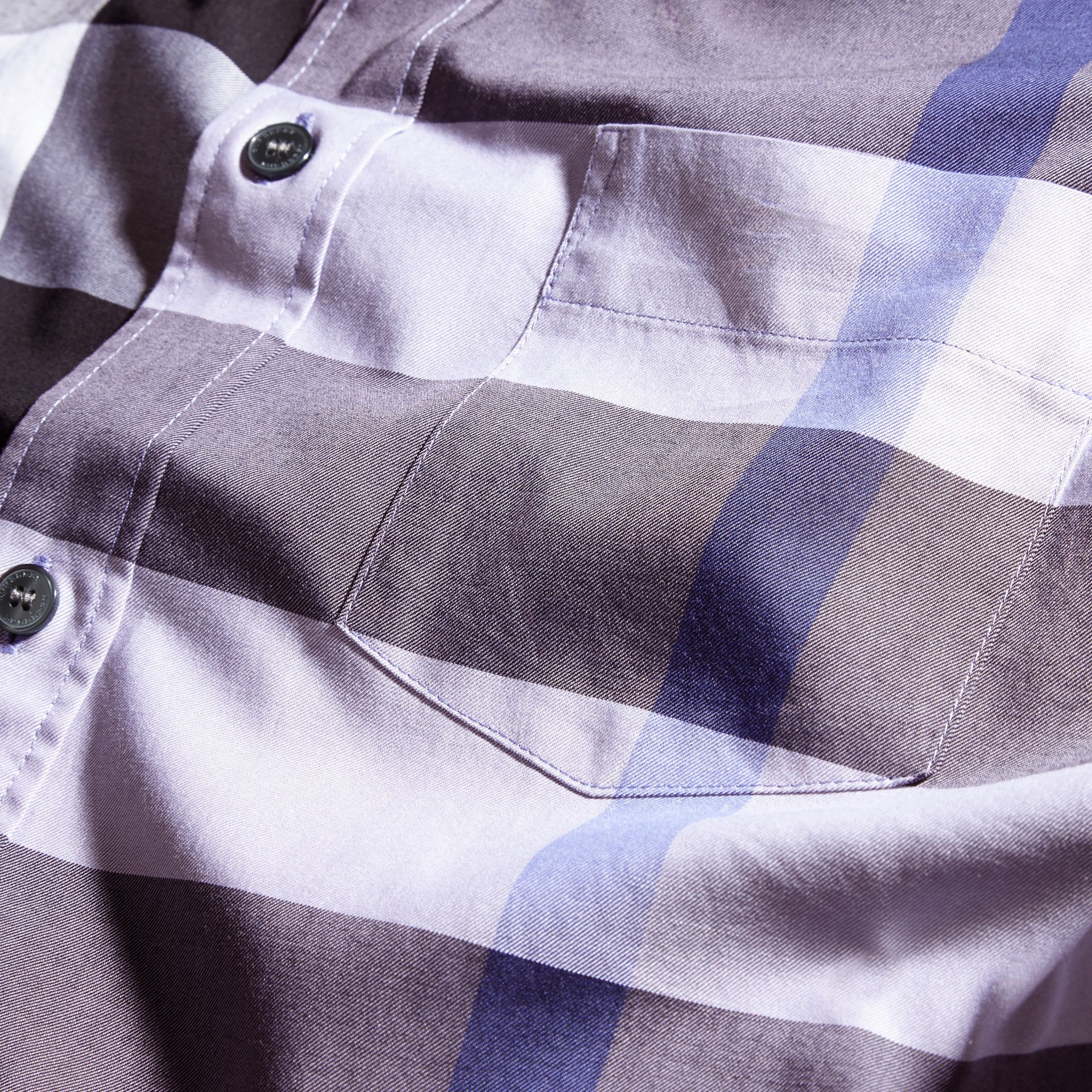 Lilac Short-sleeved Check Cotton Shirt Lilac - gallery image 2
